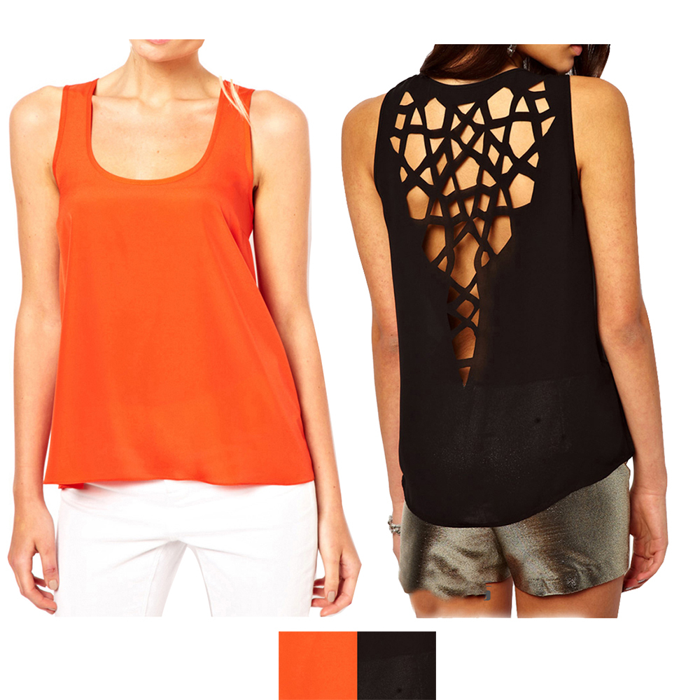 Geometrical cutout back top in black or orange