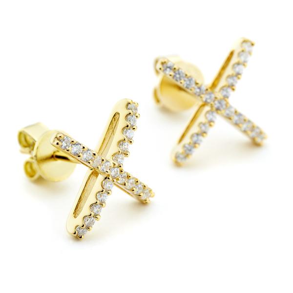 Atomic stud earrings in gold