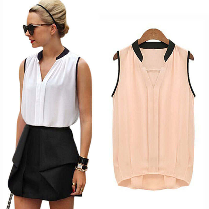 Blush or white with black collar and sleeves blouse