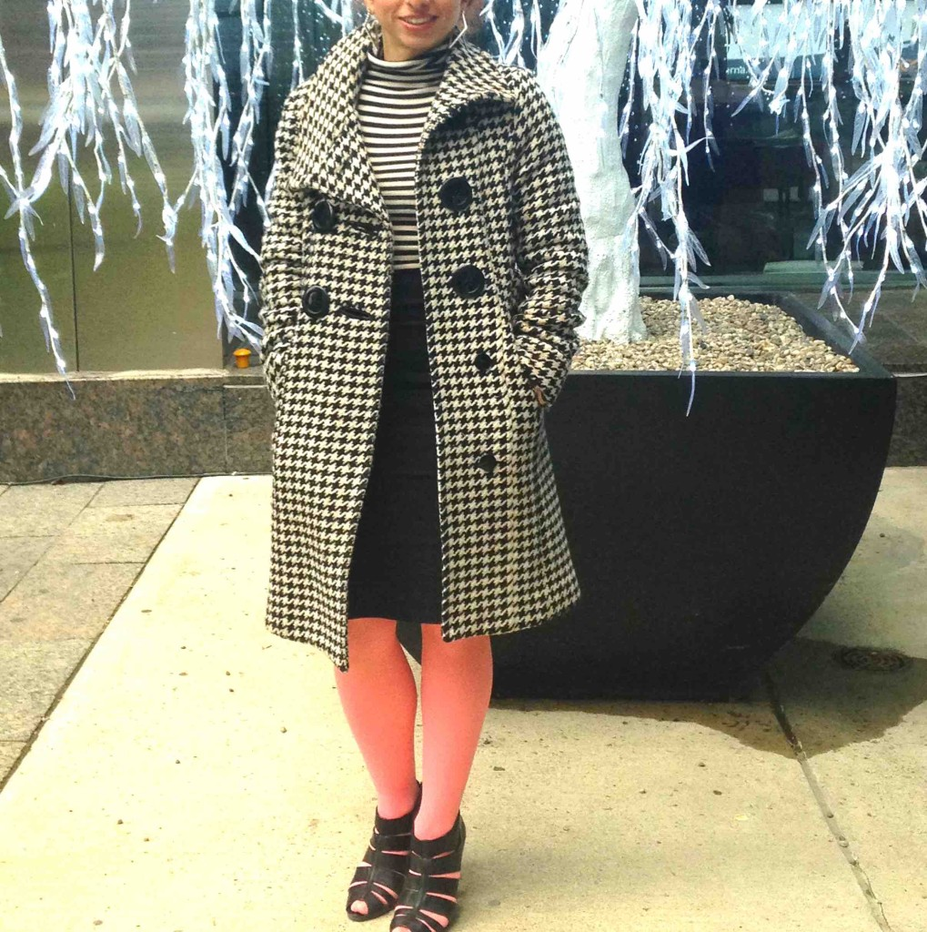 Houndstooth coat with black & white outfit