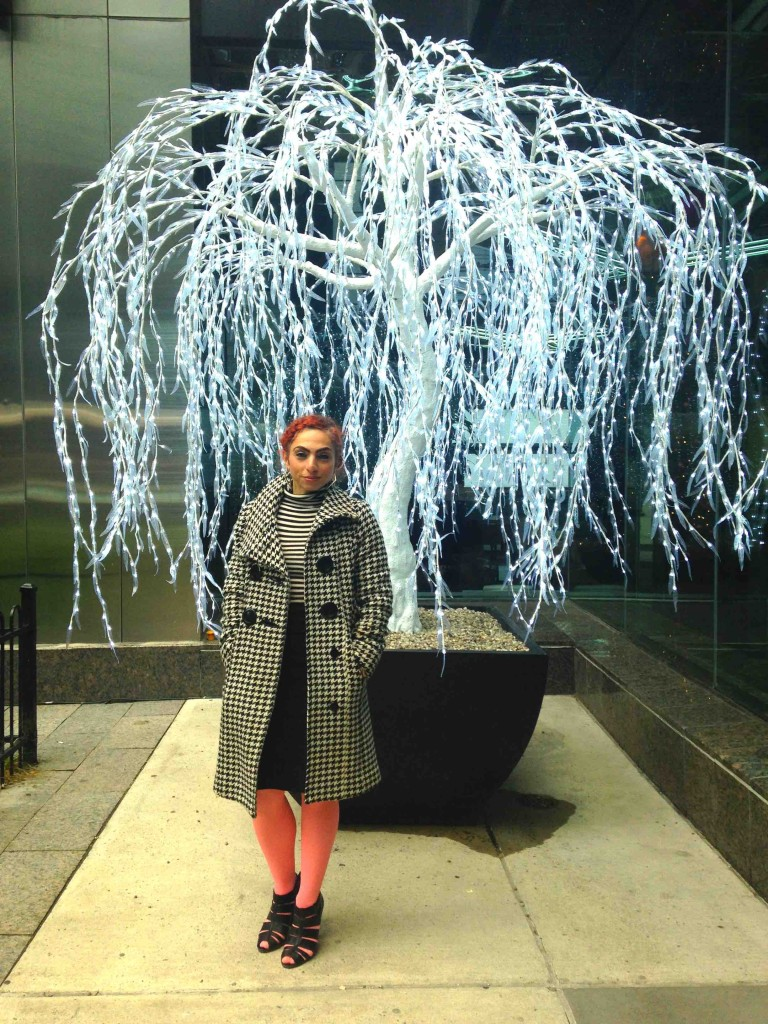 Houndstooth coat with magnificent tree