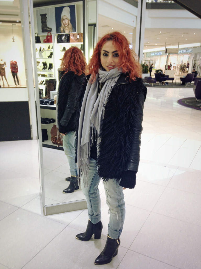 Fur vest and boyfriend jeans with scarf