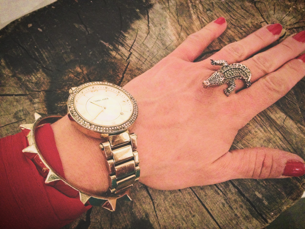 Holiday outfit alligator cocktail ring and Michael Kors watch