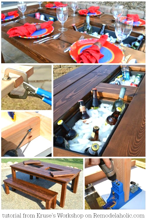 DIY patio table with drink coolers