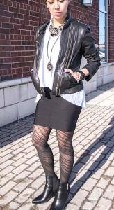 Bandage skirt & leather jacket