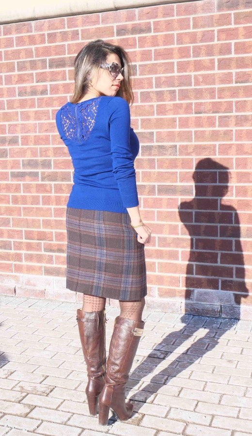 Electric blue sweater & plaid wool skirt