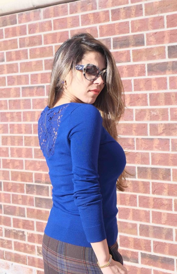 Electric blue sweater with lace detailing