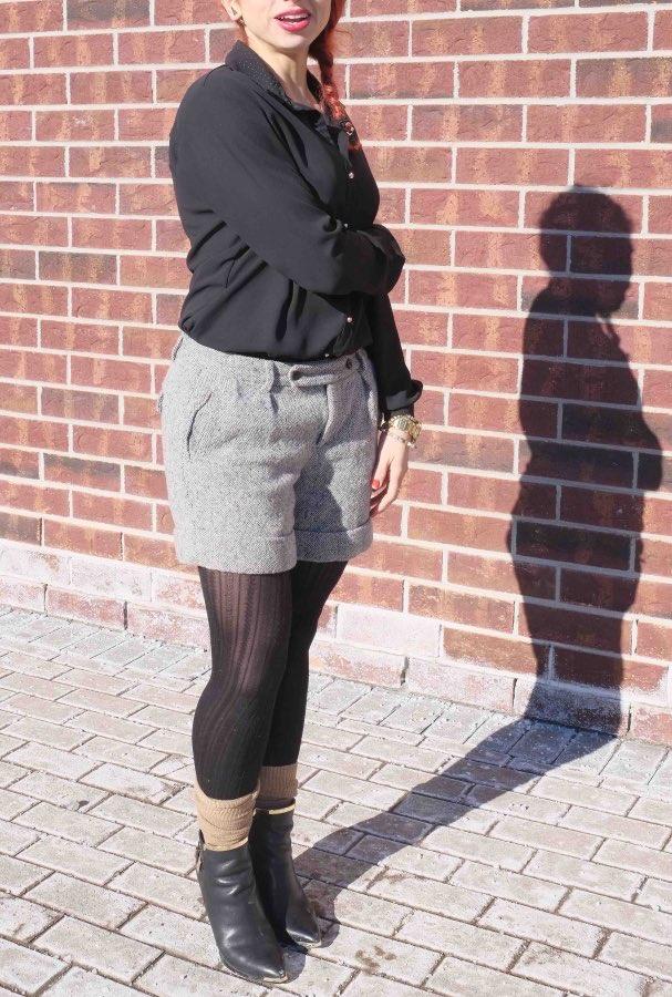 Tweed shorts with black shirt