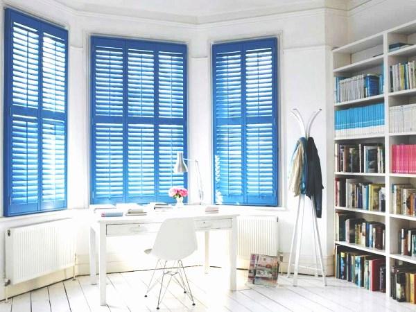 Blue full length window shutters