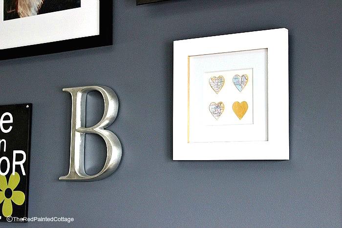 DIY map love hearts frame
