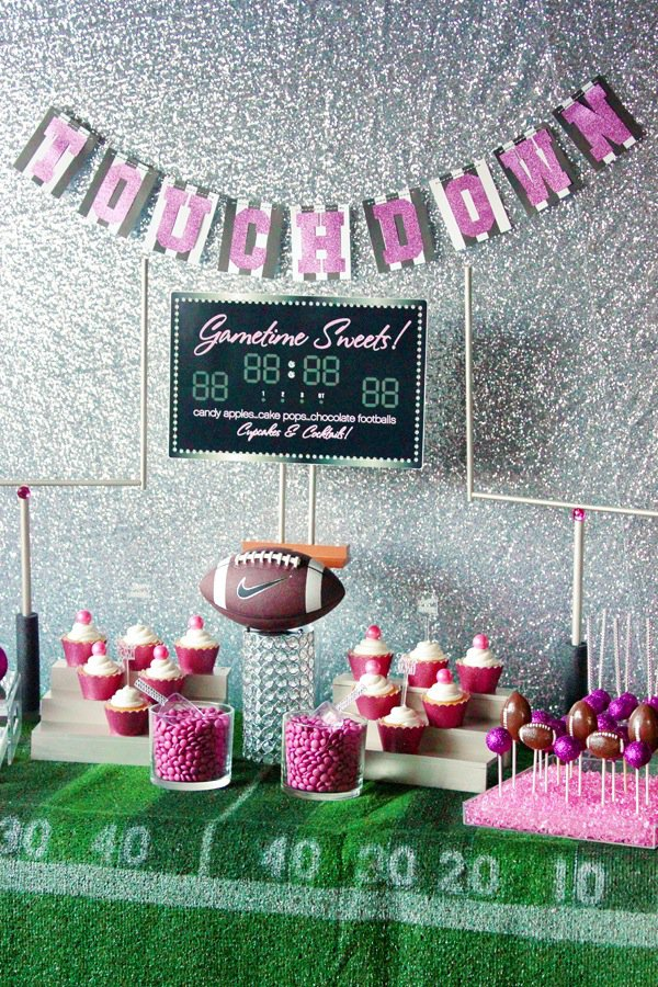Girly Superbowl party table décor
