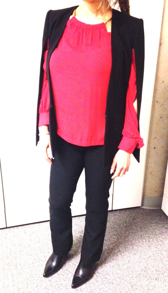 Valentines Day look red blouse, black cape, black pants