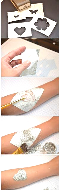 Glitter tattoo DIY