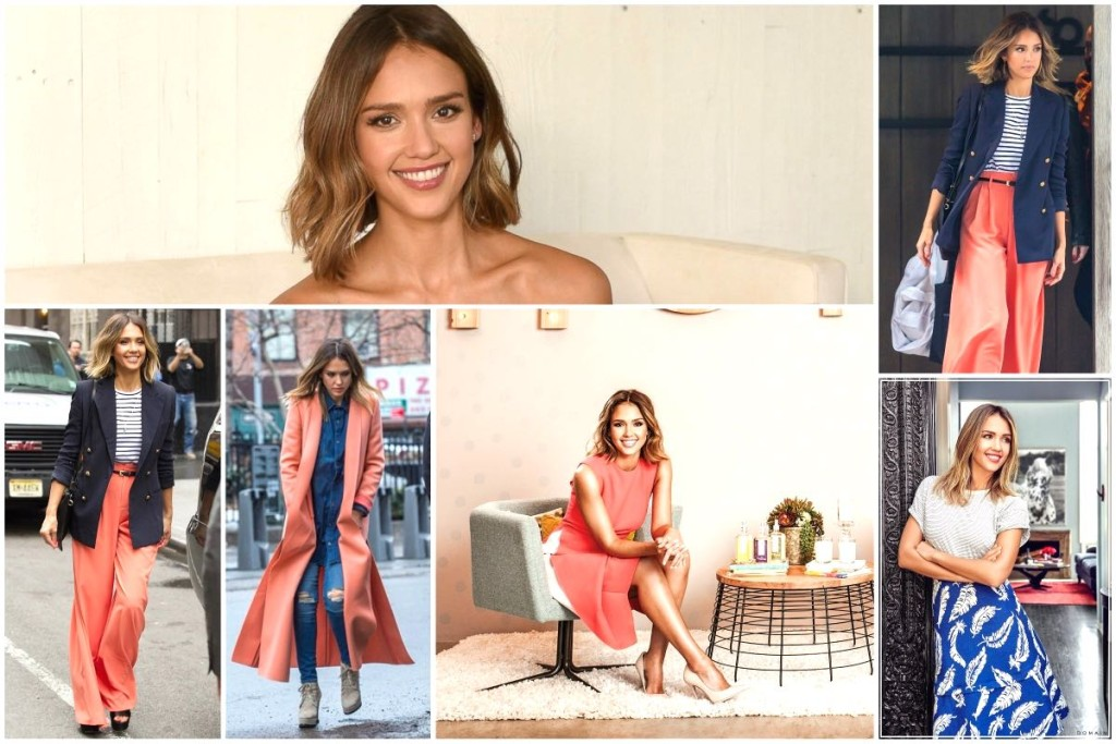 Jessica Alba's style - coral outfits & modern furniture