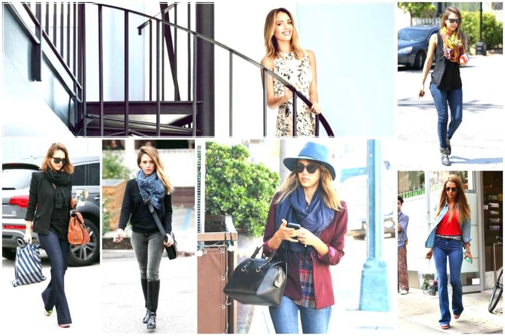 Jessica Alba's style - scarf essentials & home basics