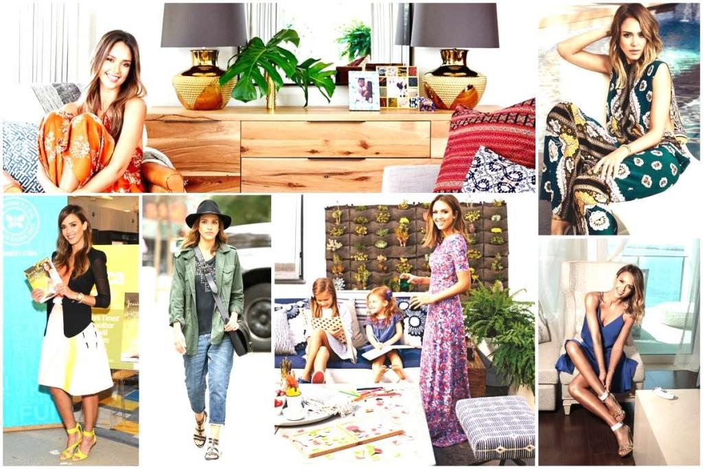 Jessica Alba's style - boho & mid century modern