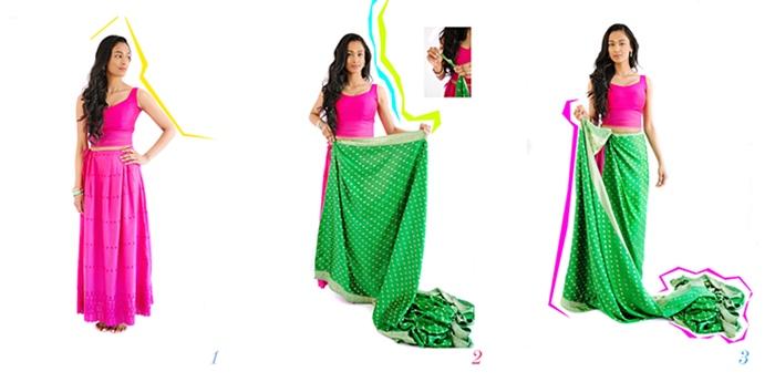 Drape a saree steps 1 to 3