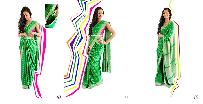 Drape a saree steps 10 to 12