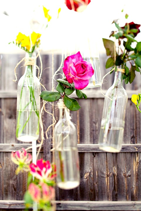 Vintage bottle flower display