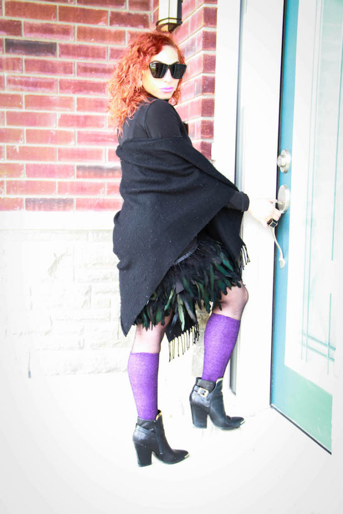 DIY feather skirt with black shawl, purple socks and black booties