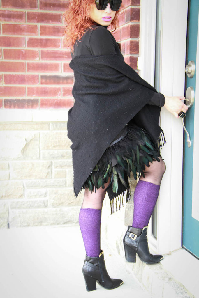 DIY feather skirt with black shawl, purple socks and black booties_2