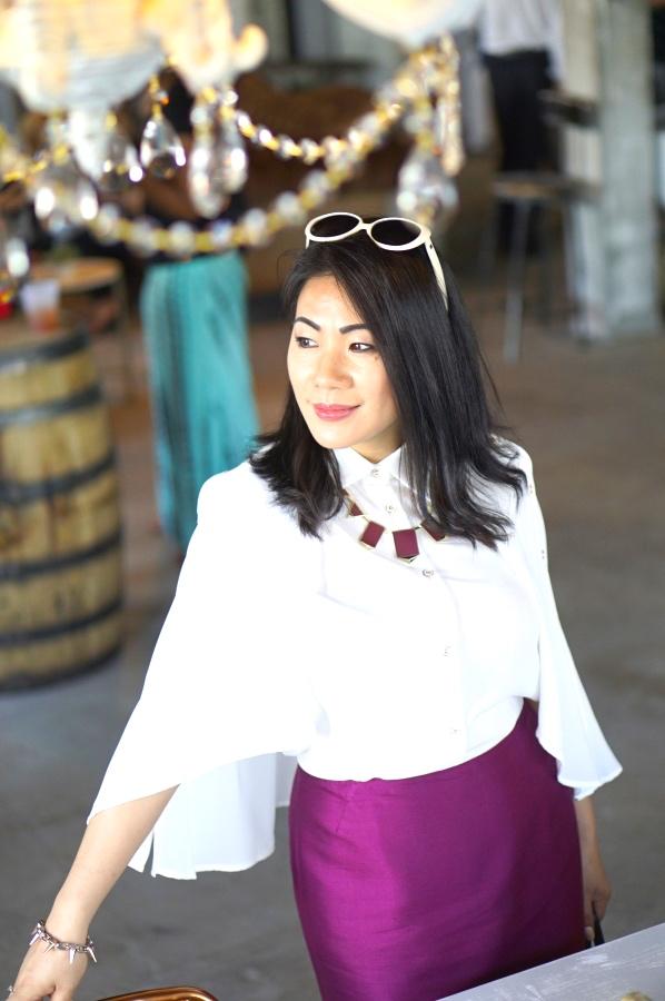 Grace white bell sleeve blouse and magenta skirt