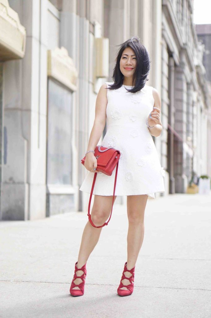 Grace's outfit - white dress and red shoes and bag