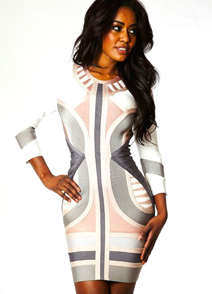 Grey white mid sleeve bandage celebrity dress