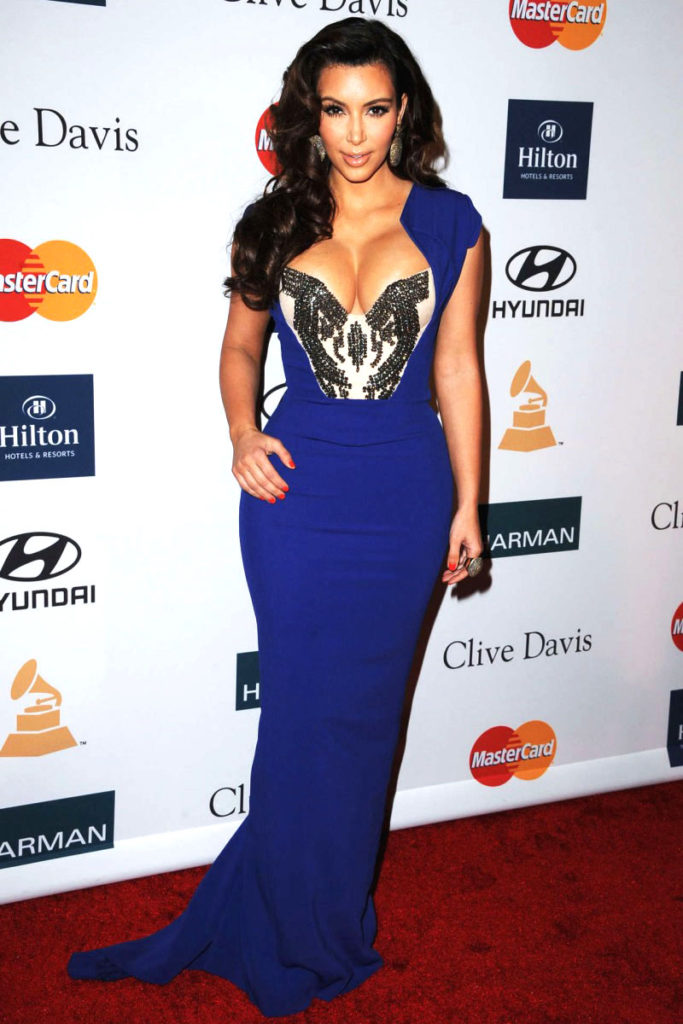 Kim Kardashian electric blue Grammy Awards dress with beaded elegant sheath