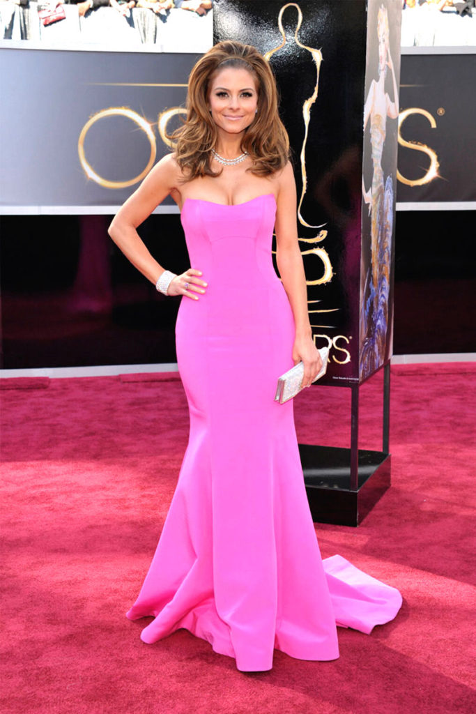 Maria Menounos Oscars strapless trumpet hot pink satin dress