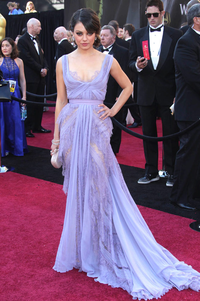 Mila Kunis sheer lavender lace Oscar dress
