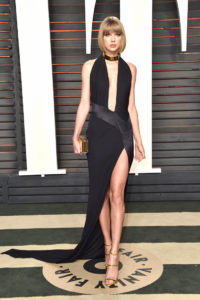 Taylor Swift sexy plunging black Oscars Vanity Fair party