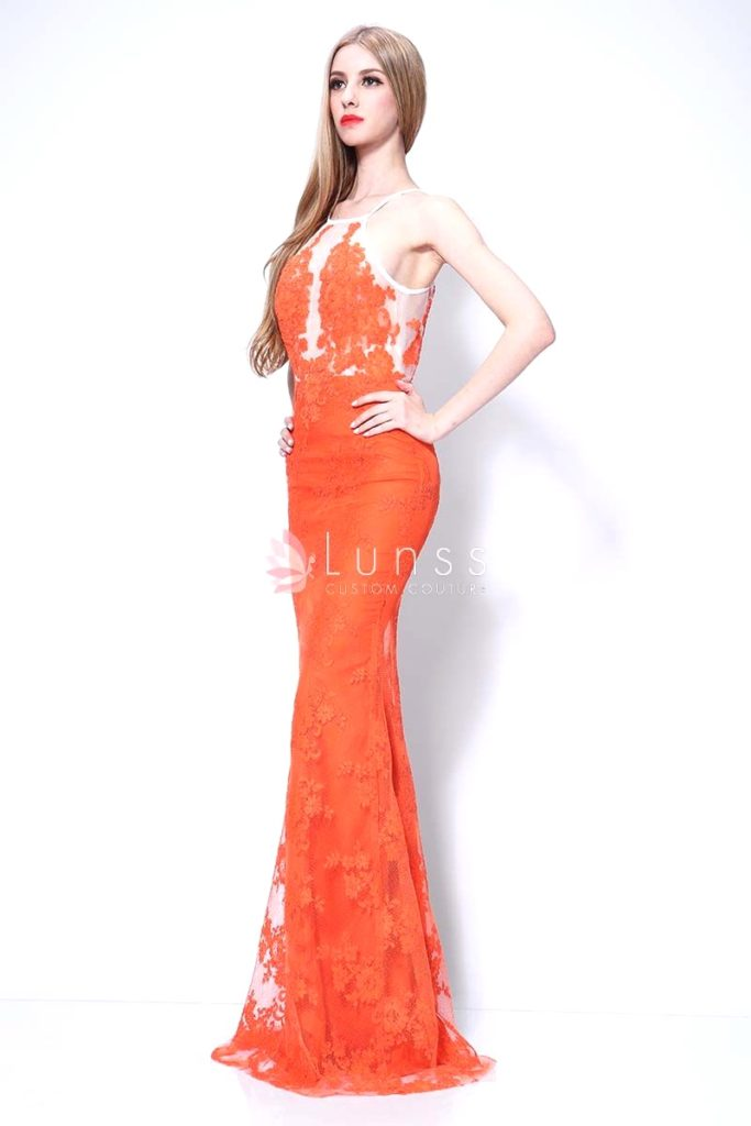 Lace white and orange bridesmaid dress