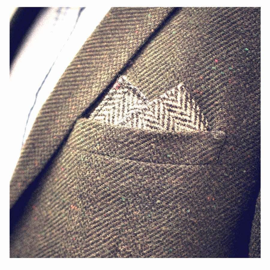 2 peak fold Harris tweed