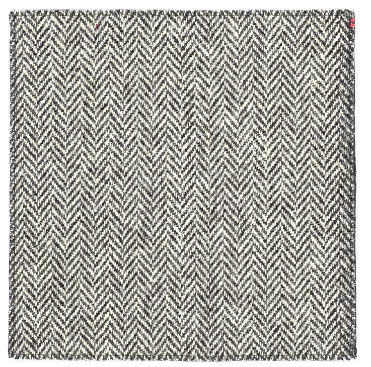 Black & white herringbone tweed pocket square