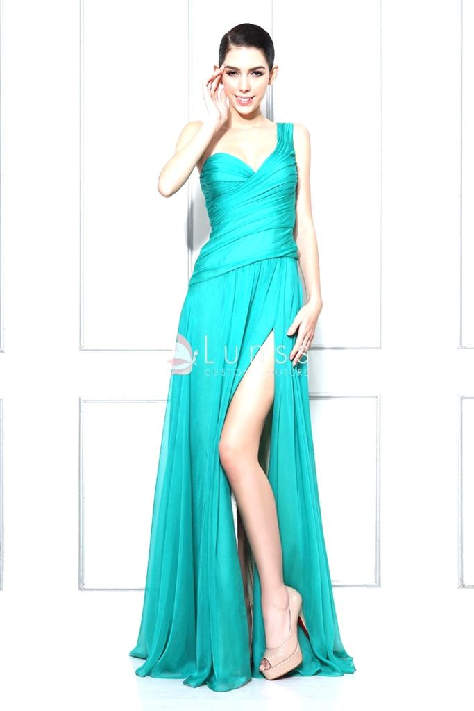 One-shoulder turquoise sweetheart chiffon bridesmaid dress