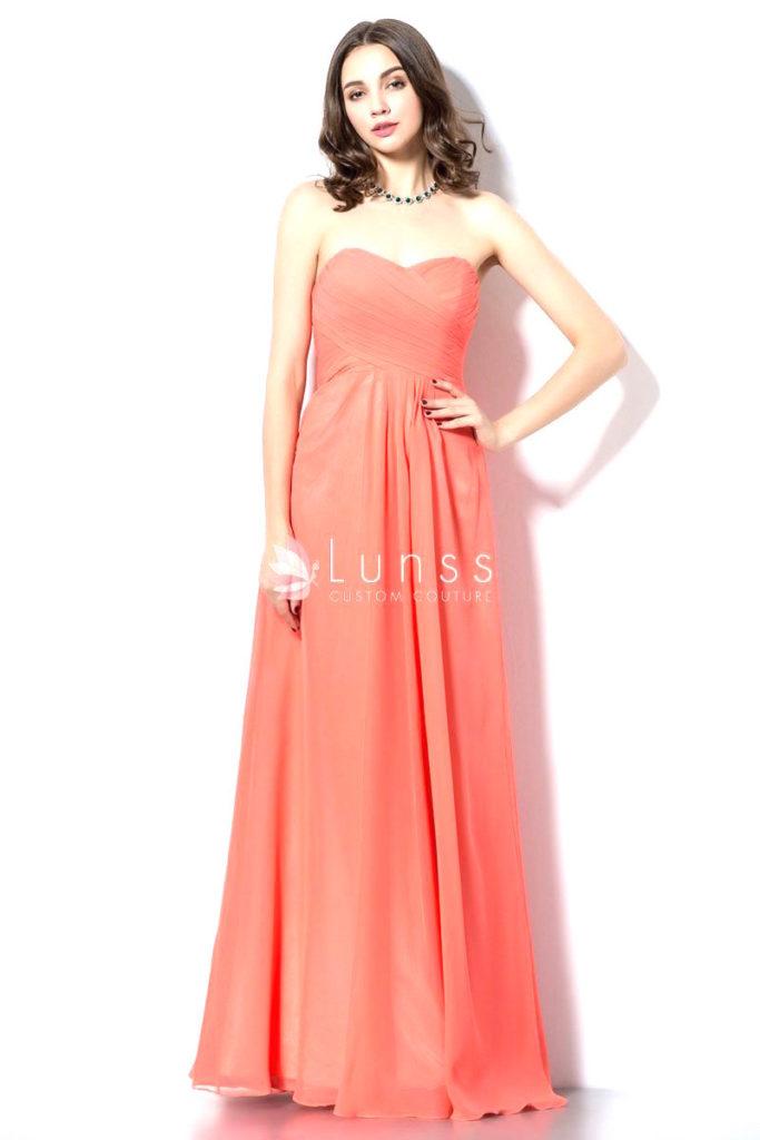 Orange chiffon sweetheart strapless a line bridesmaid dress