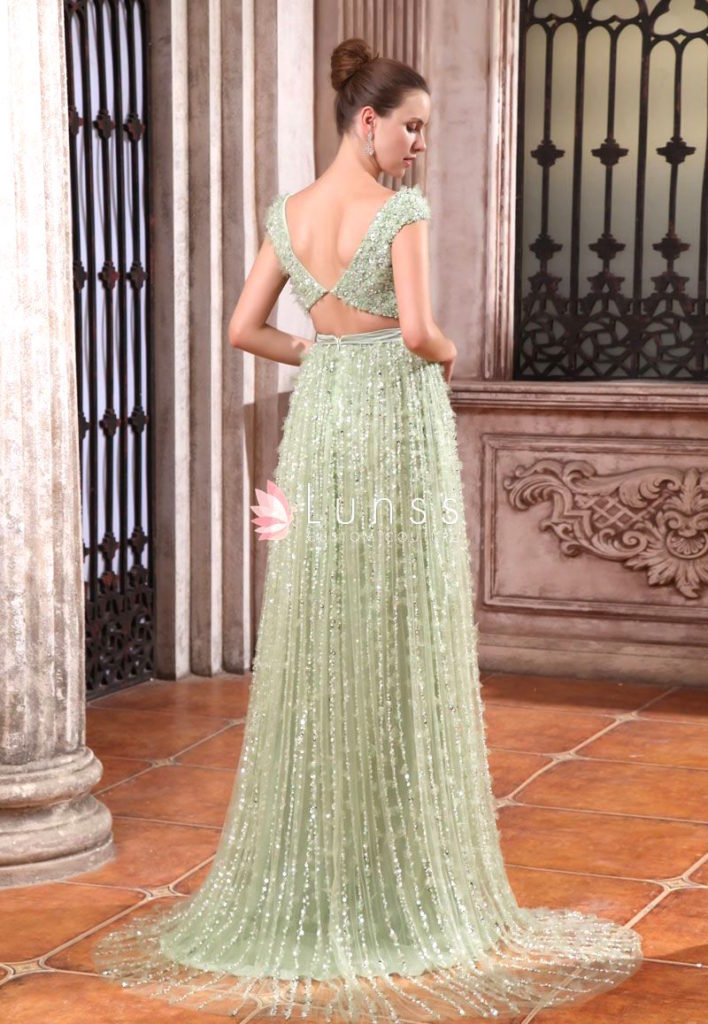Sage chiffon cap sleeve luxury dress