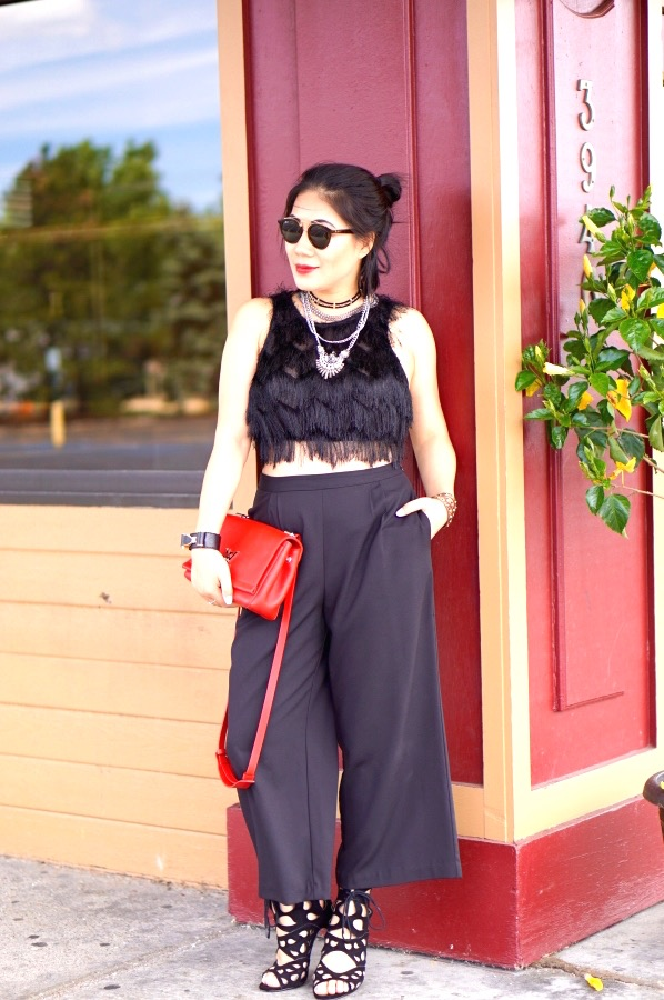Grace black palazzo pants with cropped top and red purse