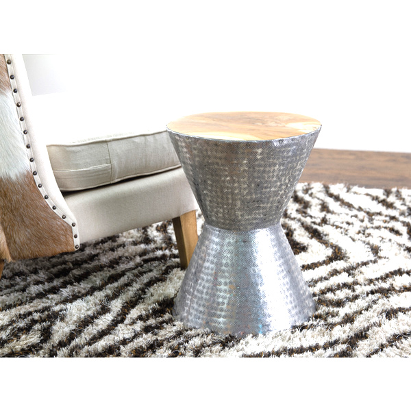 Hammered metal end table