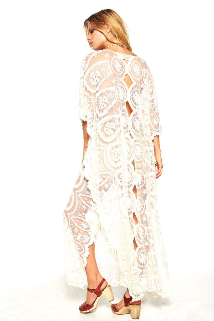 Cream lace kaftan