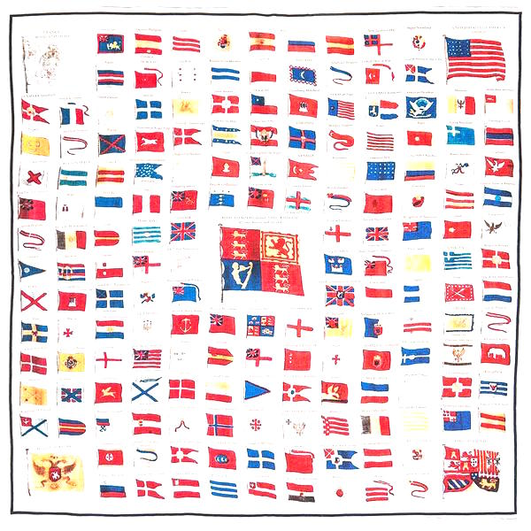 Naval flags of 1840 pocket square