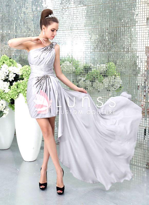 Puff fold asymmetrical one shoulder grey bridesmaid dress