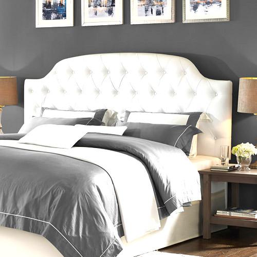 White velvet tufted headboard