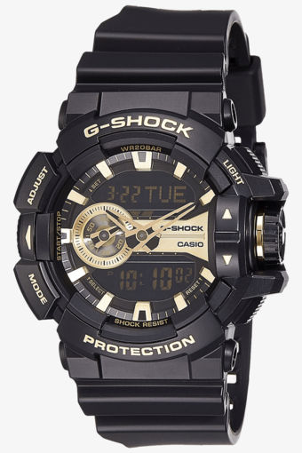 Men's sporty black and gold Casio watch