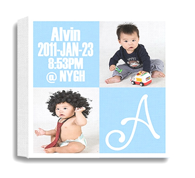 Baby canvas with picture, letter, name, date, and time