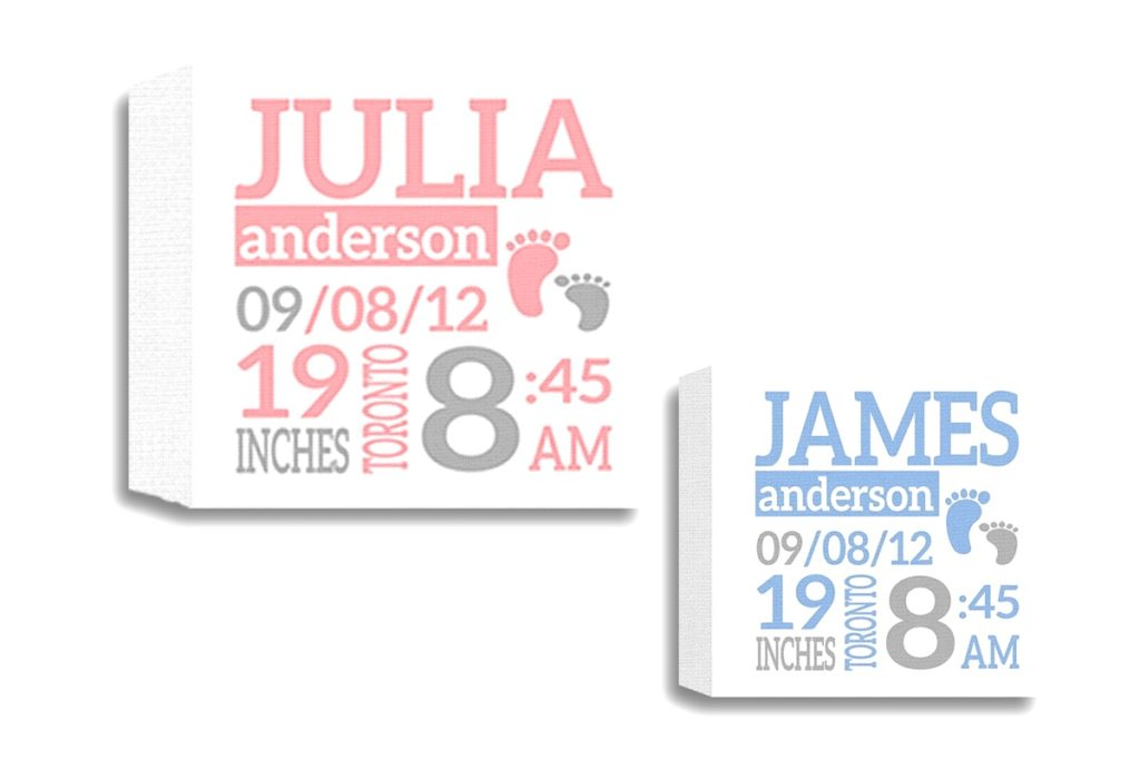 Birth canvas with name, date, time
