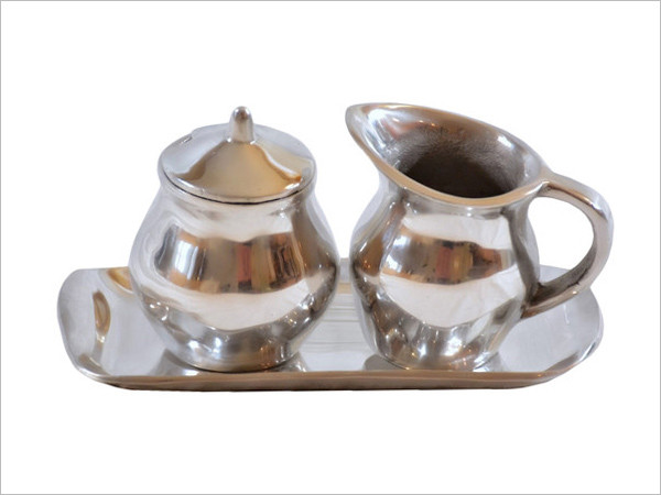 Contemporary pewter sugar, creamer & tray set