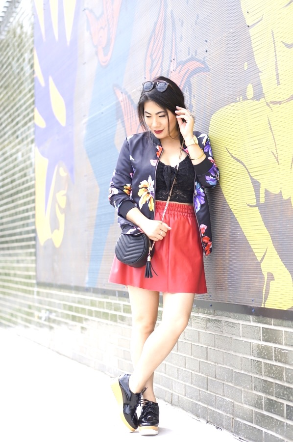 Grace in floral kimono, black lace crop top and red shorts with black patent leather Brogue shoes