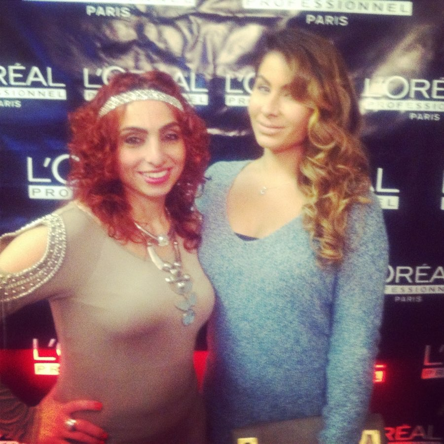 Nadine and I at Le Spa salon opening 2 months after birth